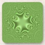 Modelo cruzado abstracto verde posavasos de bebidas
