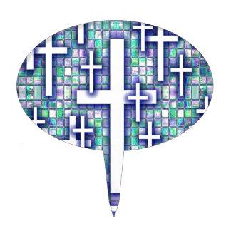 Modelo cruzado del mosaico en tonos azules y púrpu decoración para tarta
