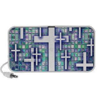 Modelo cruzado del mosaico en tonos azules y púrpu mp3 altavoz