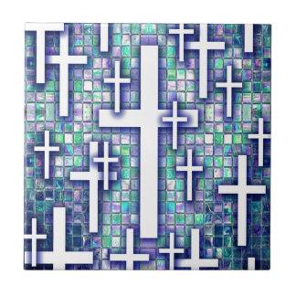 Modelo cruzado del mosaico en tonos azules y púrpu azulejos ceramicos
