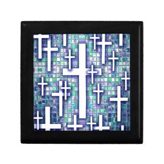 Modelo cruzado del mosaico en tonos azules y púrpu cajas de joyas
