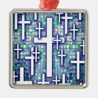 Modelo cruzado del mosaico en tonos azules y púrpu adorno de navidad