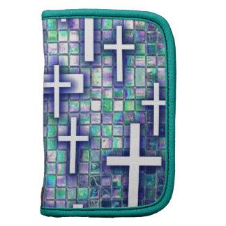 Modelo cruzado del mosaico en tonos azules y púrpu planificador