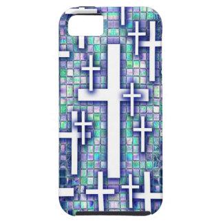 Modelo cruzado del mosaico en tonos azules y púrpu iPhone 5 protector