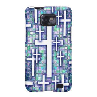 Modelo cruzado del mosaico en tonos azules y púrpu galaxy SII carcasas