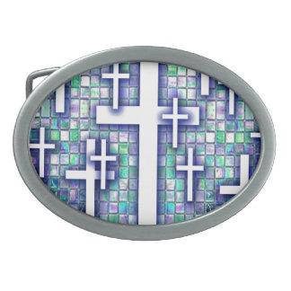 Modelo cruzado del mosaico en tonos azules y púrpu hebillas cinturón