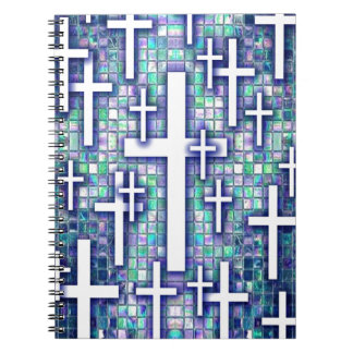 Modelo cruzado del mosaico en tonos azules y púrpu cuadernos