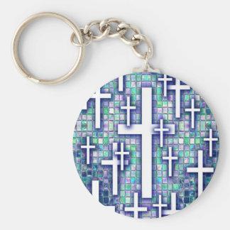 Modelo cruzado del mosaico en tonos azules y púrpu llavero personalizado