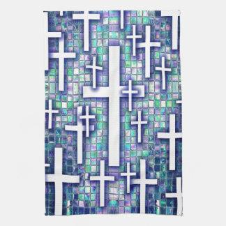 Modelo cruzado del mosaico en tonos azules y púrpu toallas