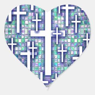 Modelo cruzado del mosaico en tonos azules y púrpu calcomanías de corazones