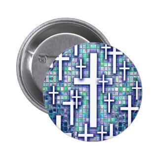 Modelo cruzado del mosaico en tonos azules y púrpu pins