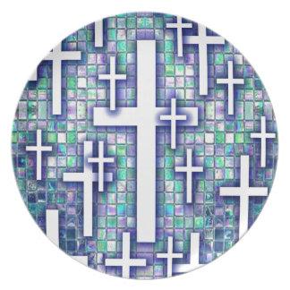 Modelo cruzado del mosaico en tonos azules y púrpu