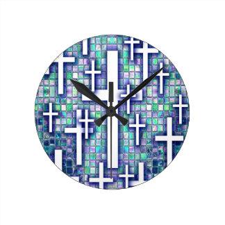Modelo cruzado del mosaico en tonos azules y púrpu reloj