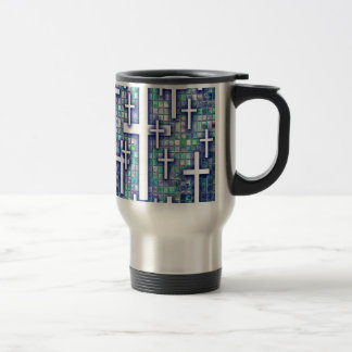 Modelo cruzado del mosaico en tonos azules y púrpu taza de café
