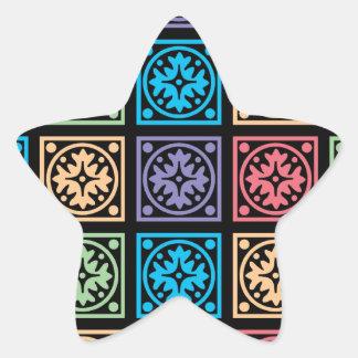 Modelo cuadrado abstracto colorido pegatina en forma de estrella
