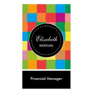 Modelo cuadrado colorido del encargado financiero tarjetas de visita