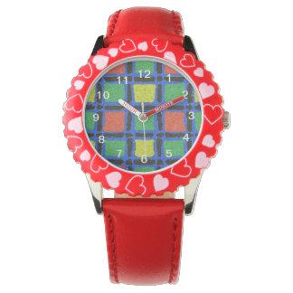 Modelo cuadrado colorido relojes de pulsera