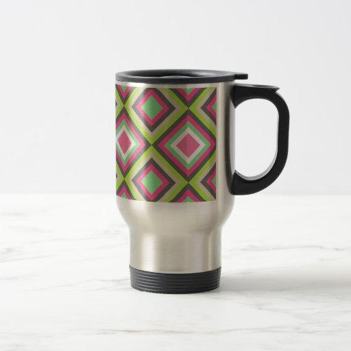 Modelo cuadrado de los diamantes grises verdes ros tazas de café