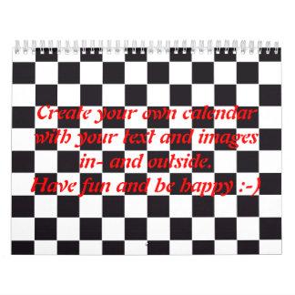 Modelo cuadrado del ajedrez - negro + su texto y calendarios
