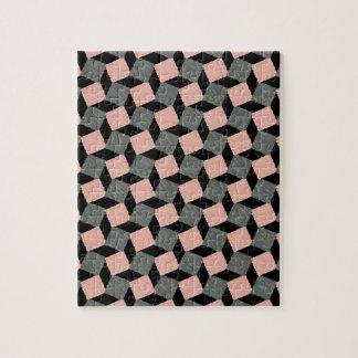 Modelo cuadrado geométrico abstracto gris rosado puzzle con fotos