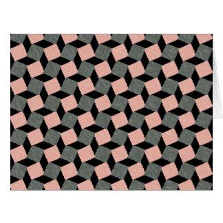 Modelo cuadrado geométrico abstracto gris rosado tarjeta de felicitación grande