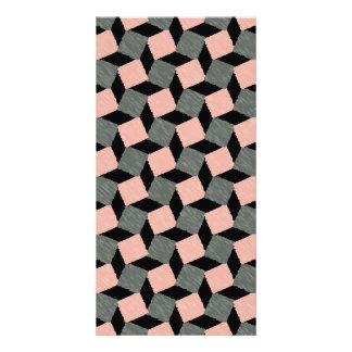 Modelo cuadrado geométrico abstracto gris rosado tarjetas fotograficas personalizadas