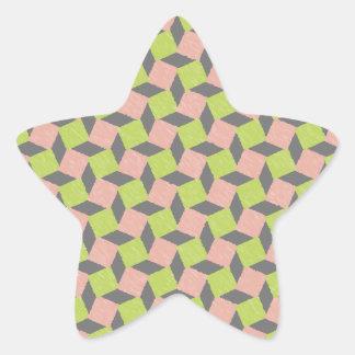 Modelo cuadrado geométrico abstracto verde rosado pegatina en forma de estrella