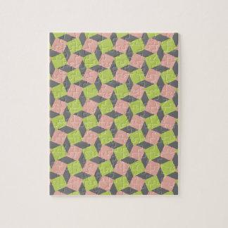Modelo cuadrado geométrico abstracto verde rosado rompecabezas