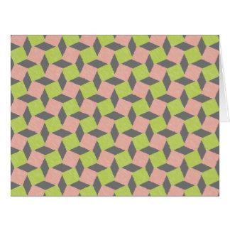 Modelo cuadrado geométrico abstracto verde rosado tarjeta de felicitación grande