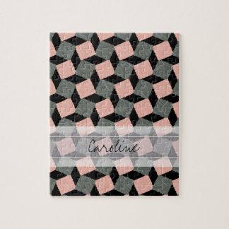 Modelo cuadrado geométrico gris rosado de Ikat del Puzzles Con Fotos