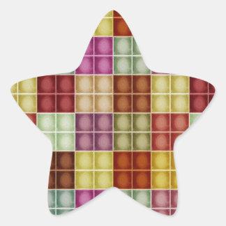 Modelo cuadrado multicolor del fondo del vintage pegatina en forma de estrella