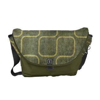 Modelo cuadrado retro verde sucio bolsas de mensajería
