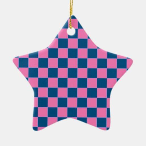 Modelo cuadrado rosado y azul ornaments para arbol de navidad