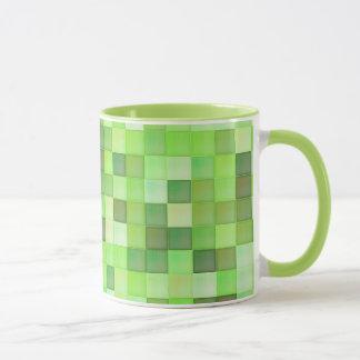 Modelo cuadrado verde en la taza de encargo
