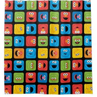 Modelo cubicado Sesame Street de las caras Cortina De Baño