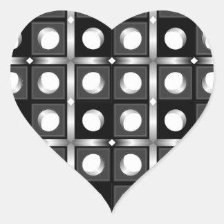 Modelo cúbico blanco y negro pegatina en forma de corazón