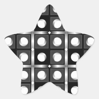 Modelo cúbico blanco y negro pegatina en forma de estrella