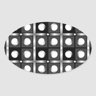 Modelo cúbico blanco y negro pegatina ovalada