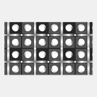 Modelo cúbico blanco y negro pegatina rectangular