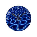 Modelo curvado neón azul reloj redondo mediano