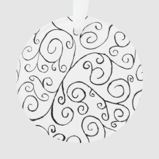 Modelo Curvy negro pintado a mano en blanco