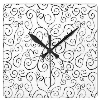 Modelo Curvy negro pintado a mano en blanco Reloj Cuadrado