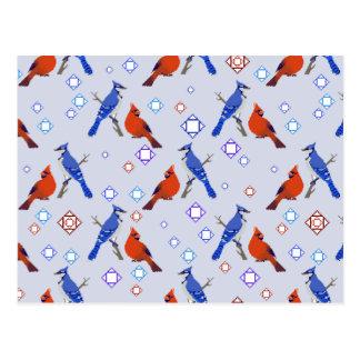 modelo de 8 bits del cardenal de la urraca postales