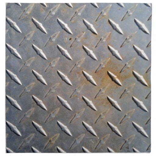 Modelo de acero del diamante del metal gris y oxid servilletas imprimidas