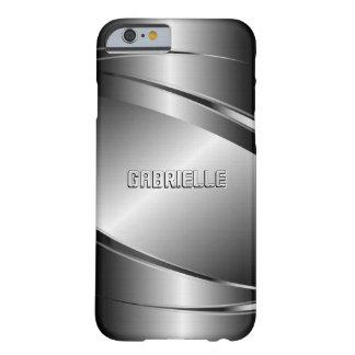 Modelo de acero Mirada-Inoxidable metálico de los Funda Para iPhone 6 Barely There