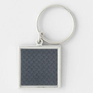 MODELO DE ACERO OSCURO de jpg_100806-diamond_plate Llavero Cuadrado Plateado