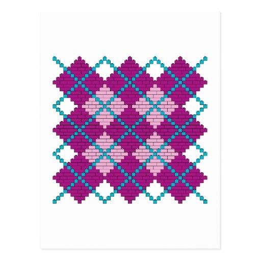 Modelo de Argyle con los ladrillos (rosa, púrpura Postal