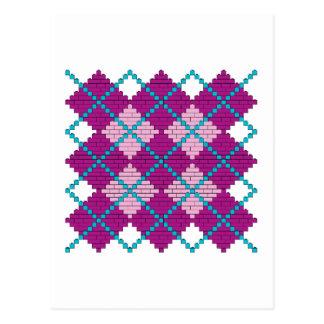 Modelo de Argyle con los ladrillos (rosa, púrpura  Tarjetas Postales