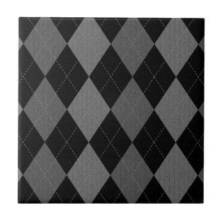 Modelo de Argyle del gris del negro y de carbón de Azulejo Cuadrado Pequeño