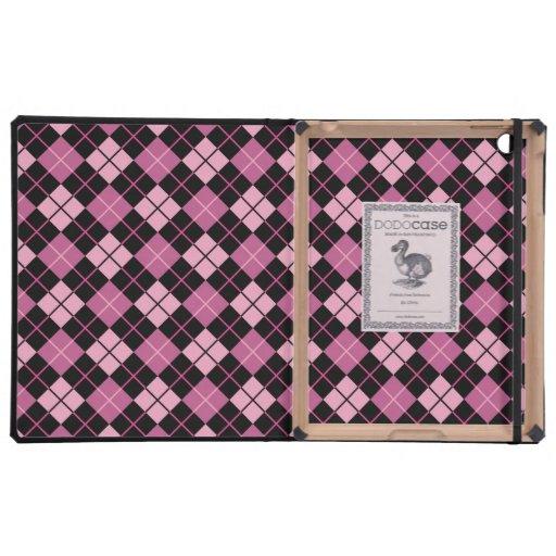 Modelo de Argyle en negro y rosa iPad Protectores